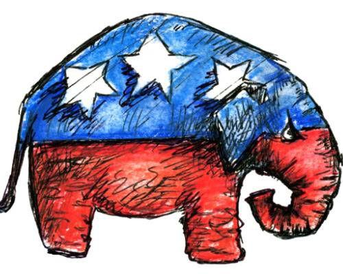 Sketch of a red, white, and blue elephant in profile