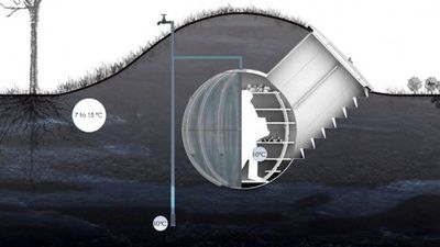 Diagram of root cellar from an underground view
