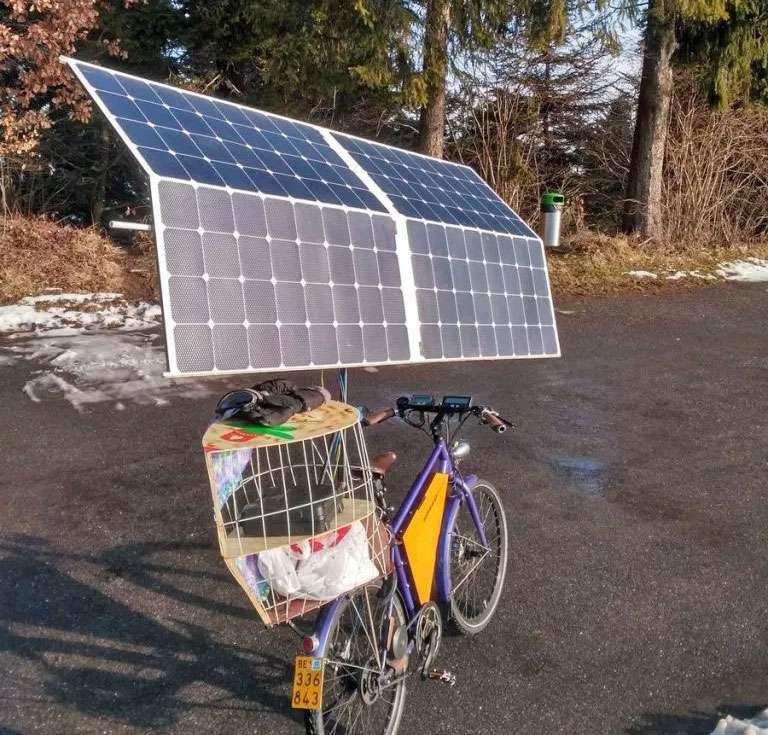 Bike with solar panels