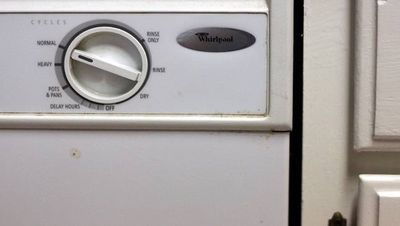 front of a white Whirlpool dishwasher