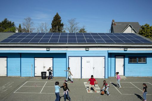 A solar installation for Harbor House, a nonprofit community development organization in Oakland.