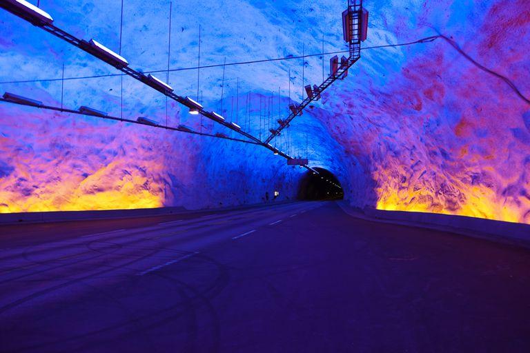 Illuminated Laerdal Tunnel in Norway