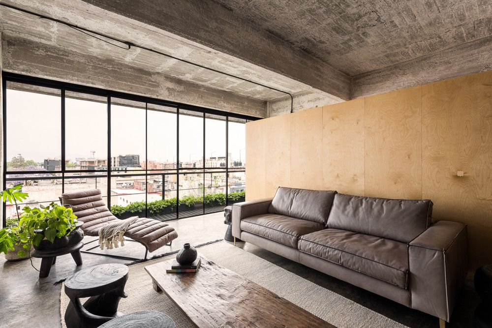 Living room with concrete exposed