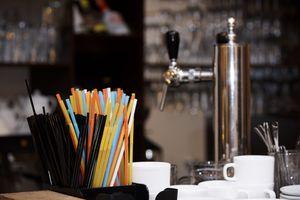 Plastic straws on a bar