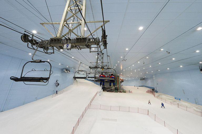 The indoor ski slop in the desert city of Dubai.