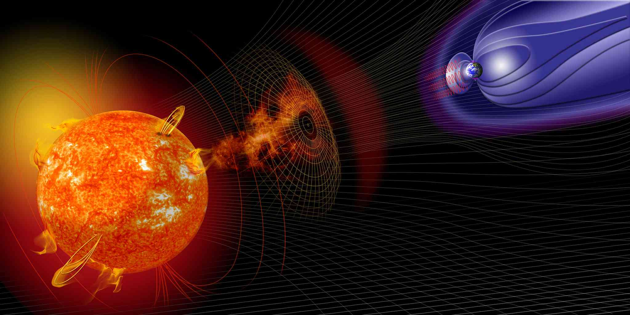 Illustration of the Sun, Earth, and various kinds of space weather.