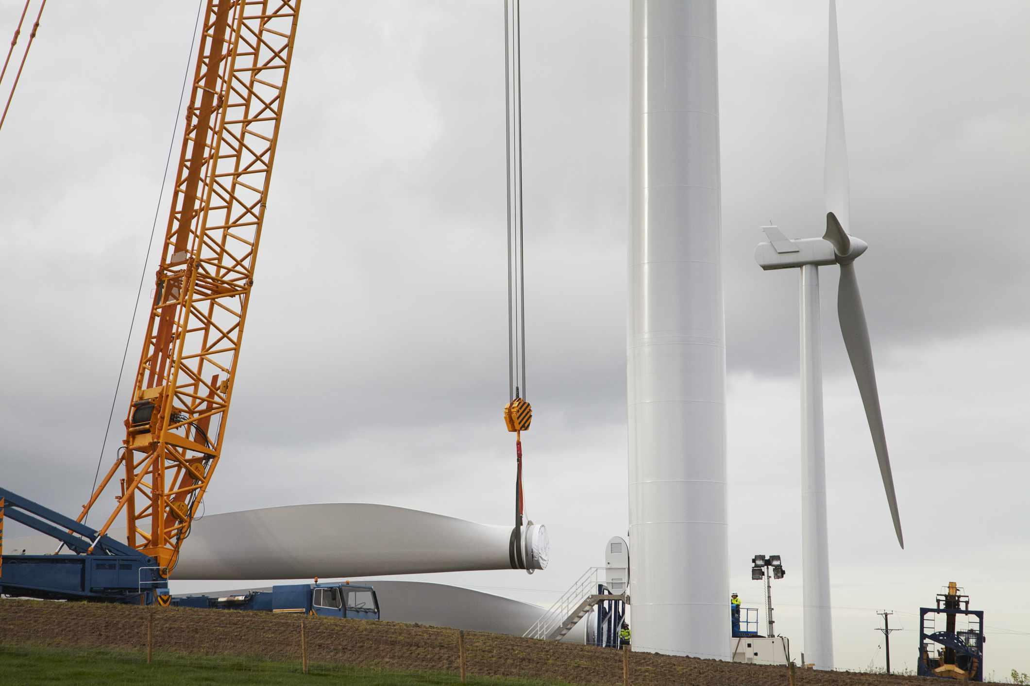 Wind turbine being erected