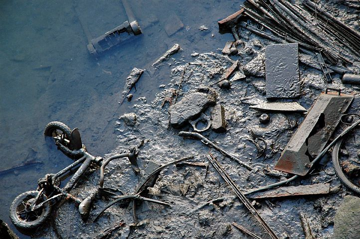 Debris and mud