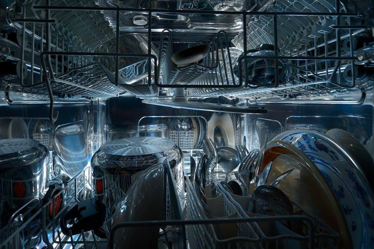 Inside of dishwasher