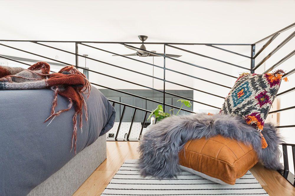 Floor cushion in the sleeping loft