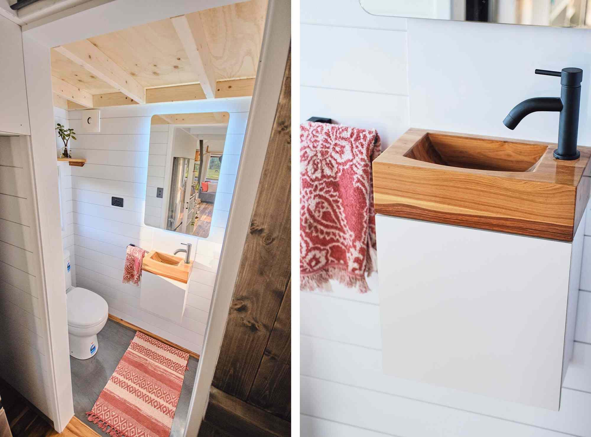 Sojourner Tiny House by Hauslein Tiny House Company bathroom