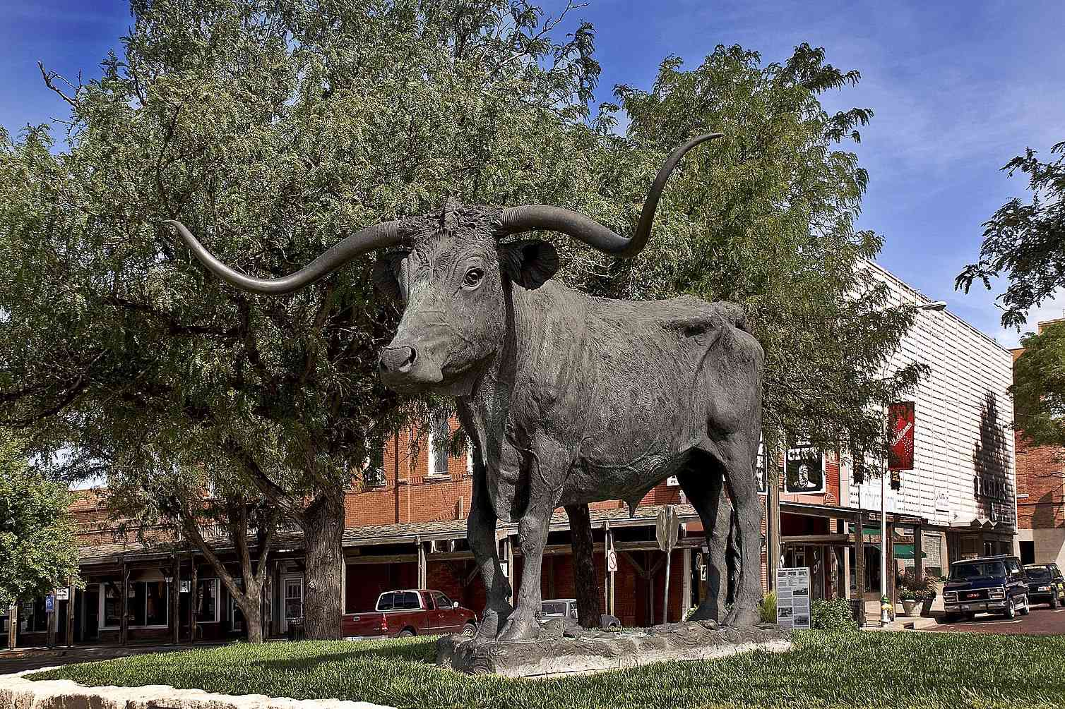 Giant Texas longhorn statue on Main Street in Dodge City