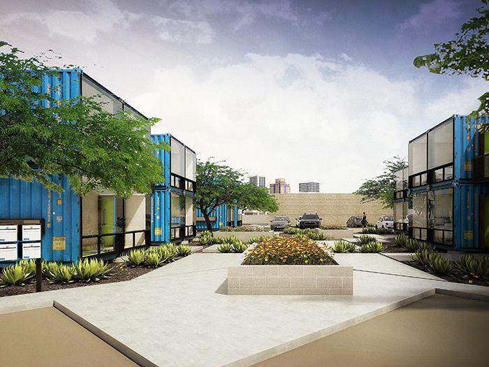 Proyecto de vivienda de contenedores de envío en construcción en Phoenix