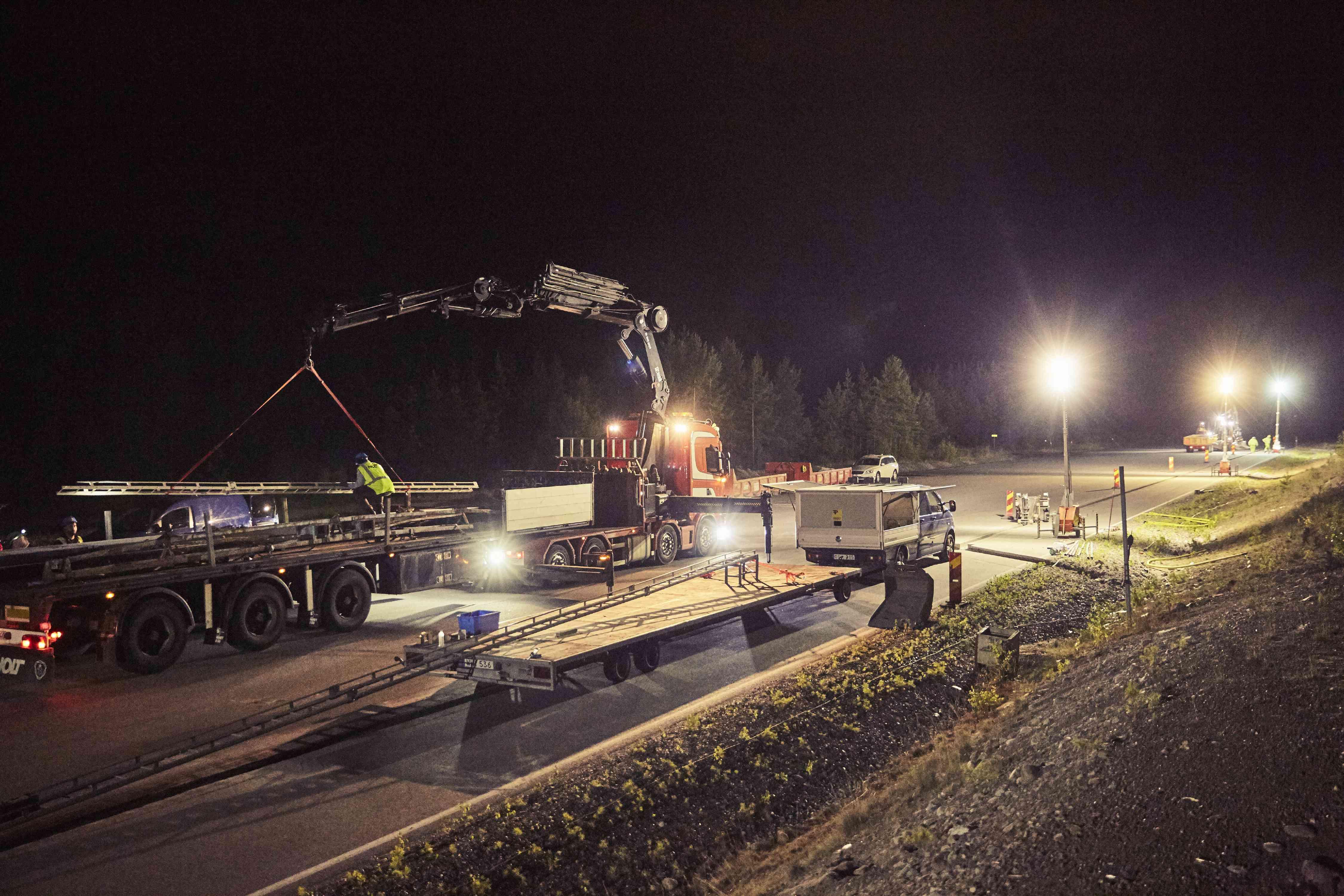 Work is underway along eRoadArlanda outside of Stockholm.