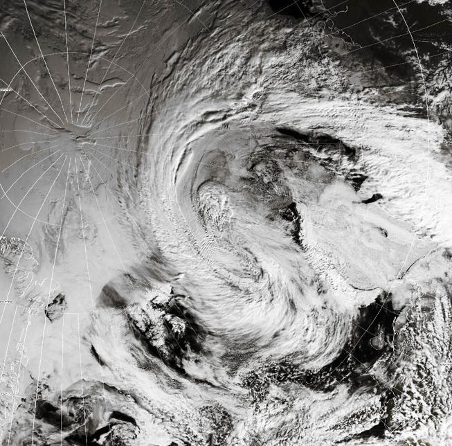 An extratropical cyclone sits over the Arctic on June 7, 2018