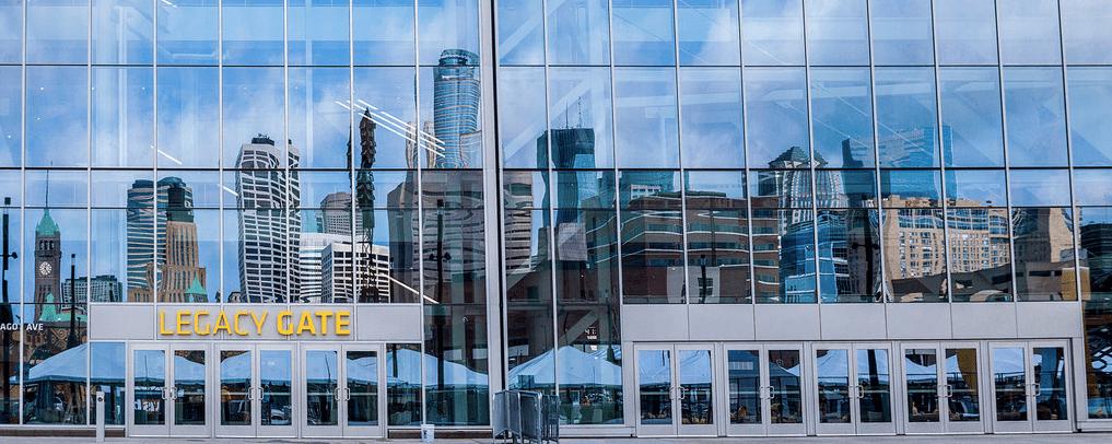Glass facade of U.S. Bank Stadium in Minneapolis
