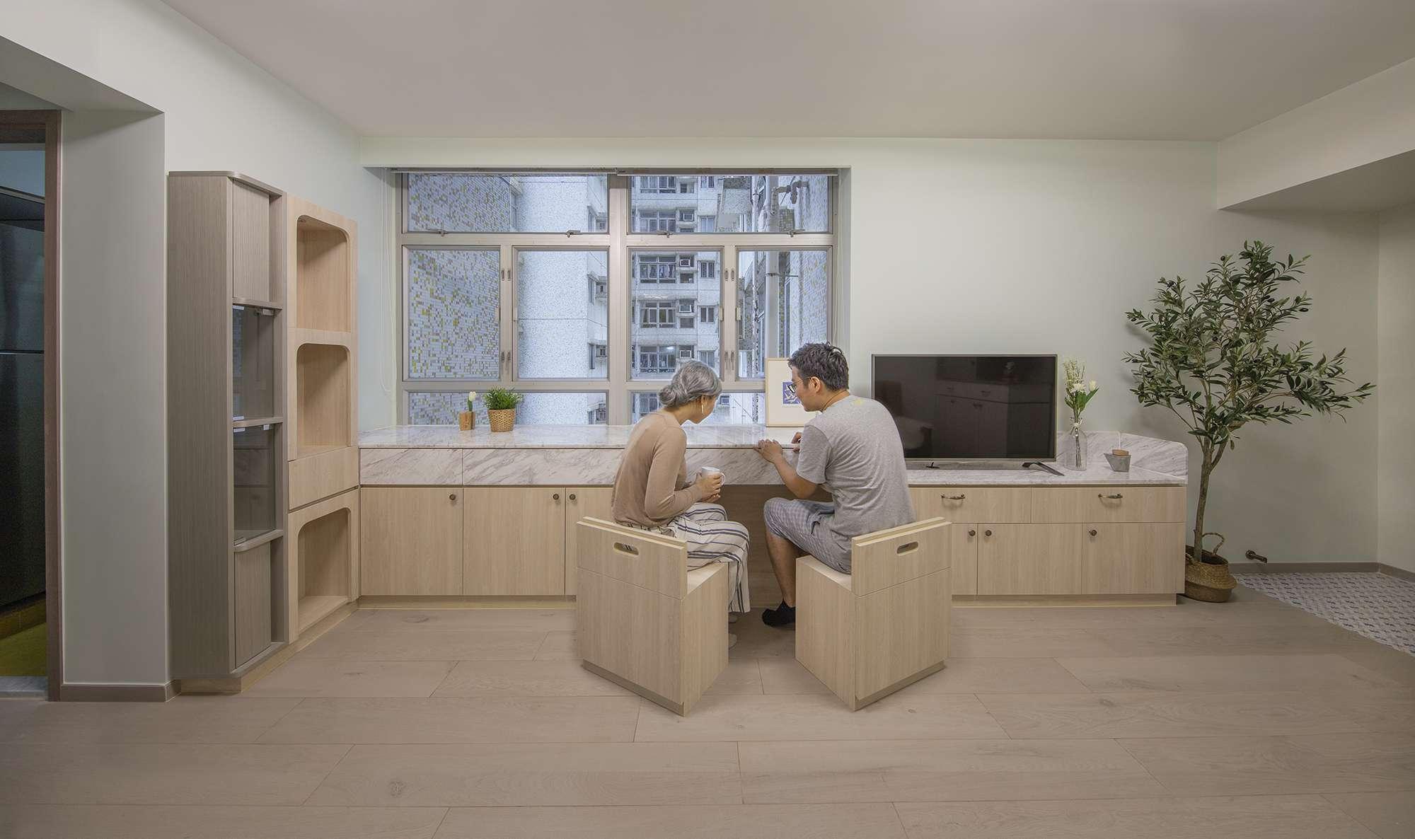 Floral Aged House apartment renovation by Sim-Plex Design Studio chairs
