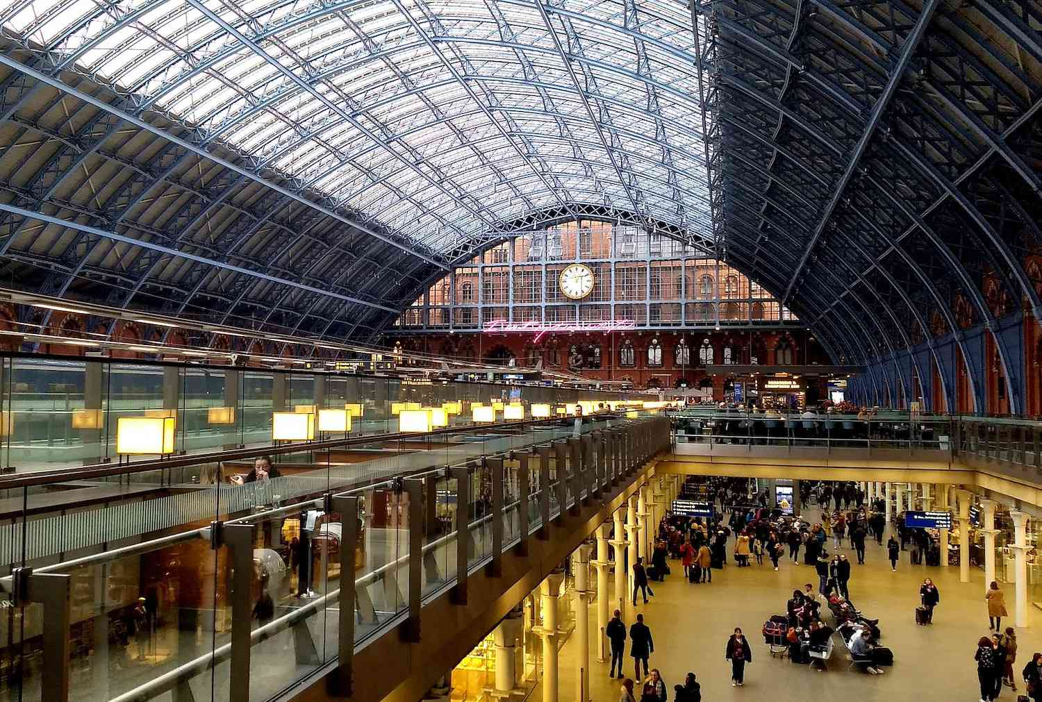 The arched-glass concourse of St. Pancras Station