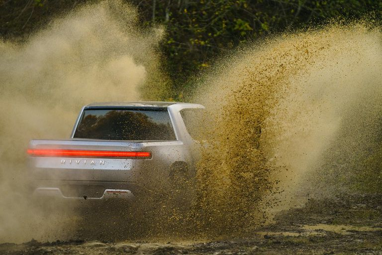 Rivian in mud