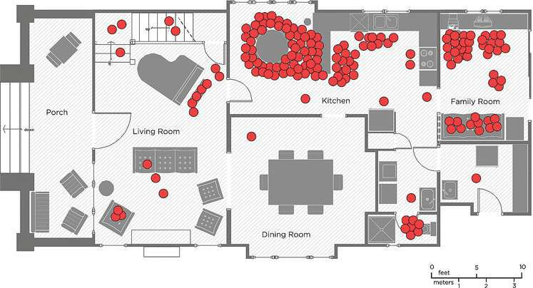 Plan of house with dots