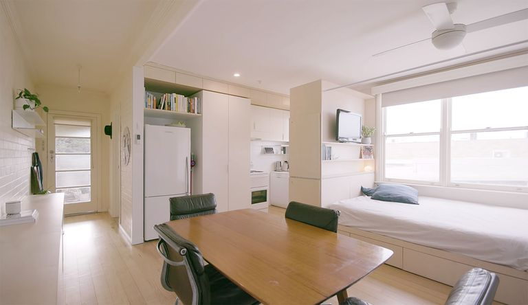Compartment Apartment renovation by Winter Architecture interior main living space