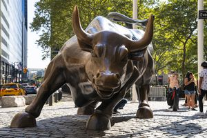 A view of the bronze Charging Bull on Wall Street stands at a lower Broadway park at Bowling Green September 28, 2020 in the financial district of New York City.