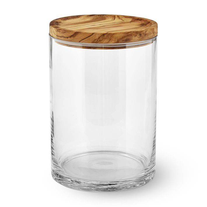 Williams Sonoma Olivewood & Glass Canister