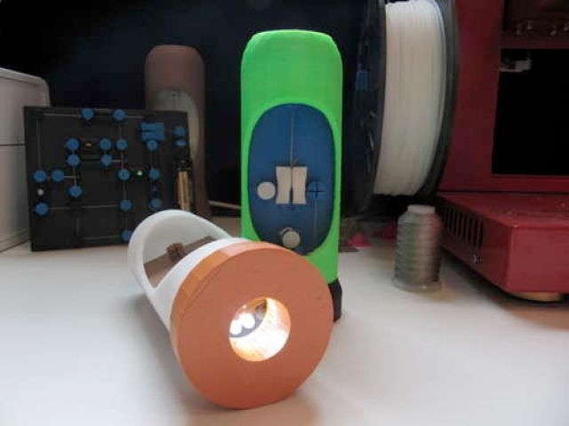A DIY flashlight sitting on a table