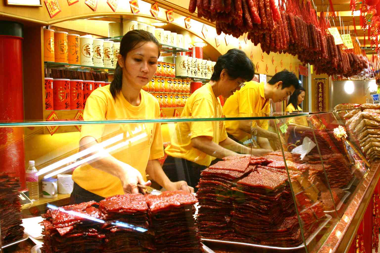 Chinese jerky, called Bakkwa, for sale in a Singapore market