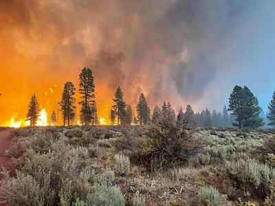In this handout provided by the USDA Forest Service, the Bootleg Fire burns on July 12, 2021 in Bly, Oregon. The Bootleg Fire has has spread over 212,377 acres, making it the largest among the dozens of blazes burning in the western U.S. fueled by record temperatures and drought.