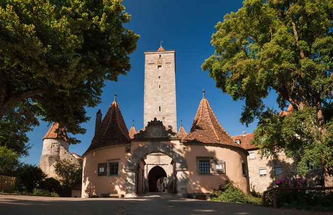 The gates to the city of Rothenburg, Germany