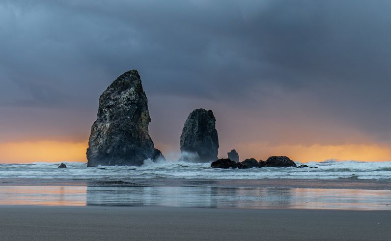 Intertidal structures at Oregon's Cannon Beach
