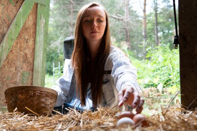young woman sitting outside reaches into chicken coop for egg