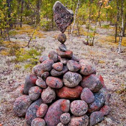 Balanced stone cairn