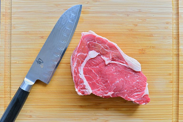 red meat and knife