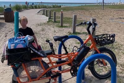 Katherine's e-bike at the beach