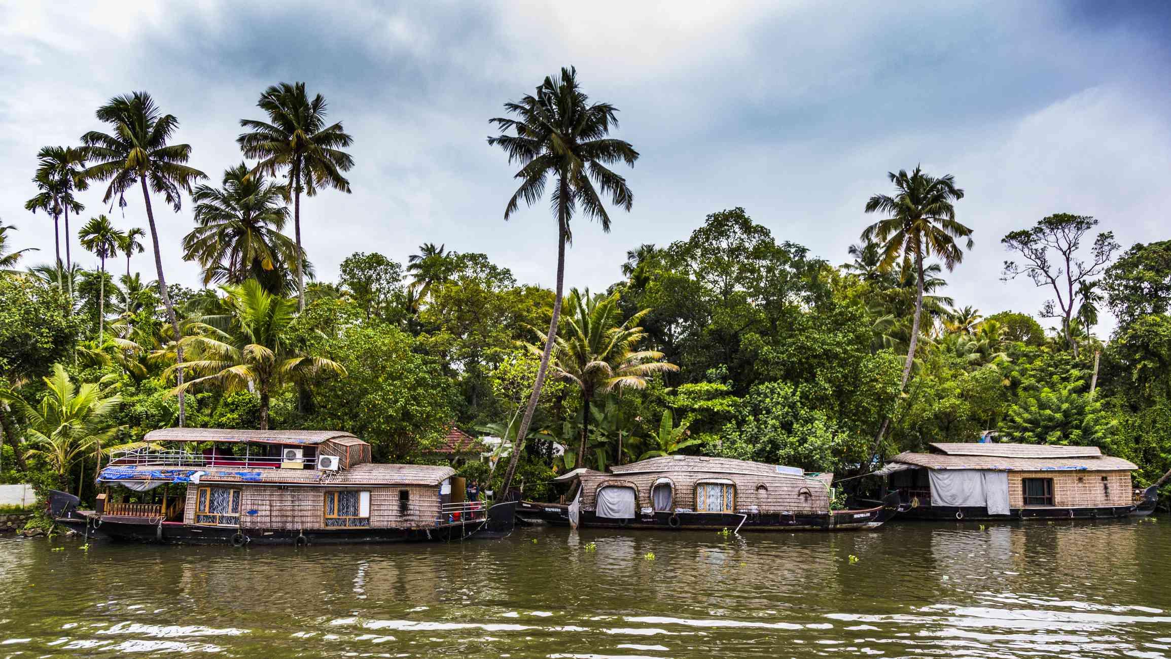 Houseboats on Backwaters of Alappuzha, Kerala, India