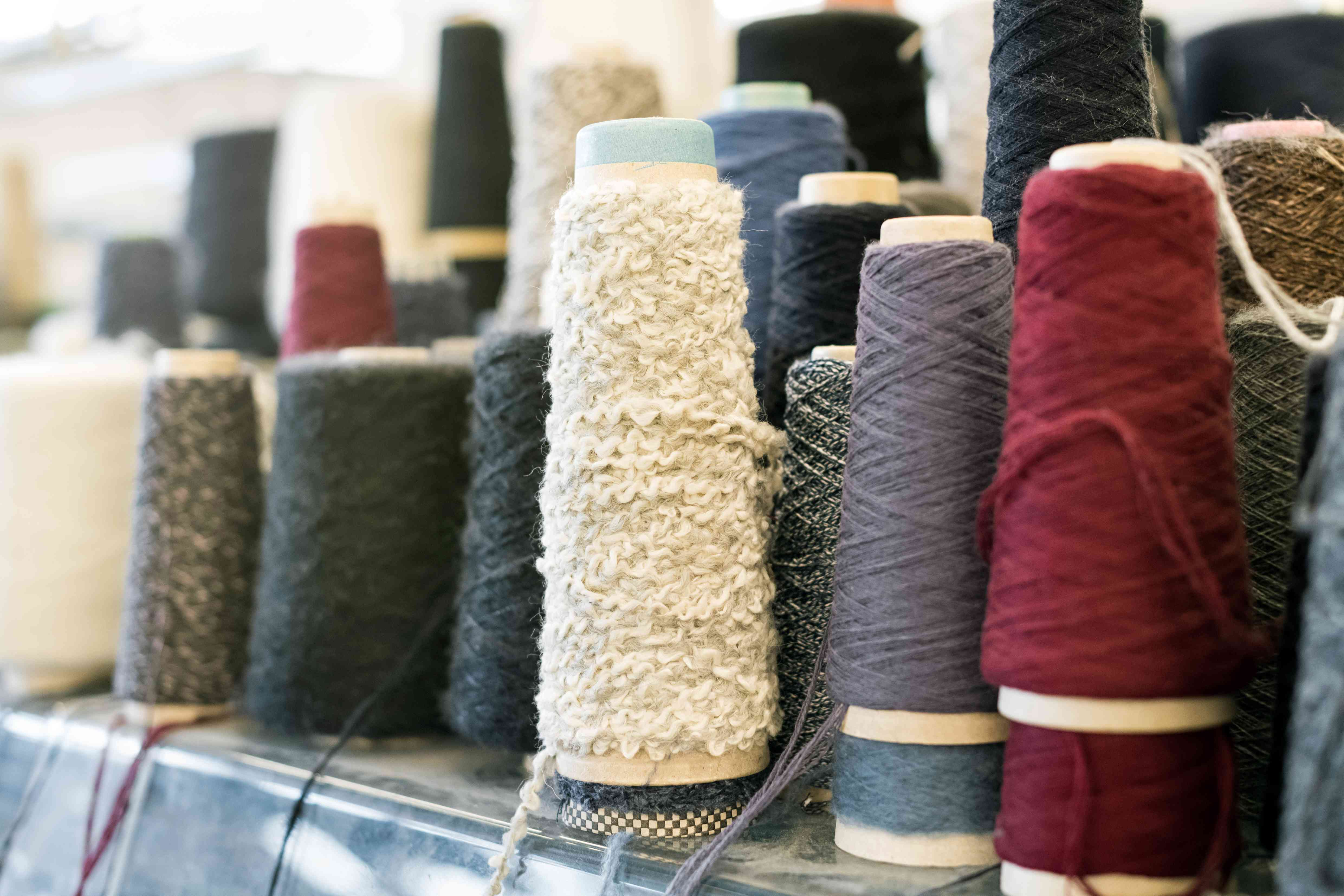 Spools and reels of spun cashmere wool
