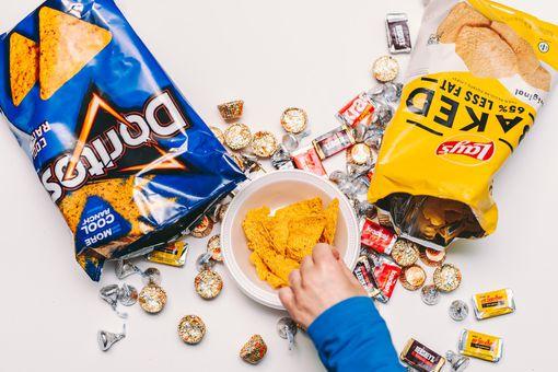 a pile of junk food snacks