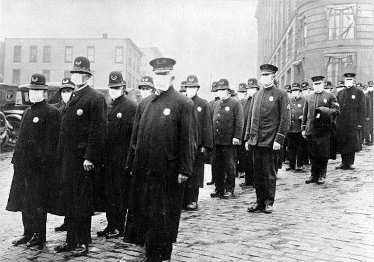 Policemen wearing masks in 1918 during influenza epidemic.