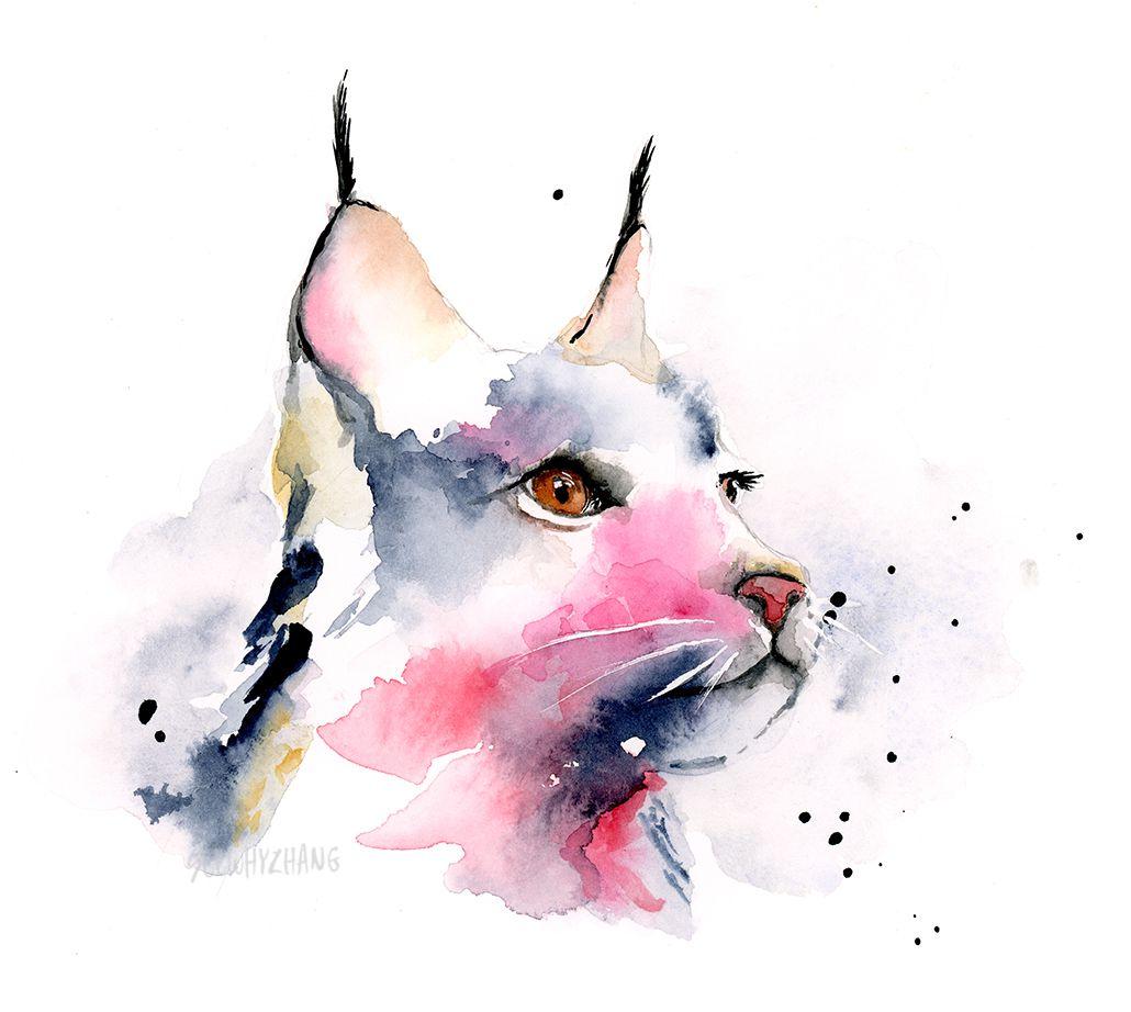 watercolor lynx
