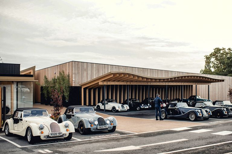 Beautiful Morgan Motor Cars parked in a mod lot