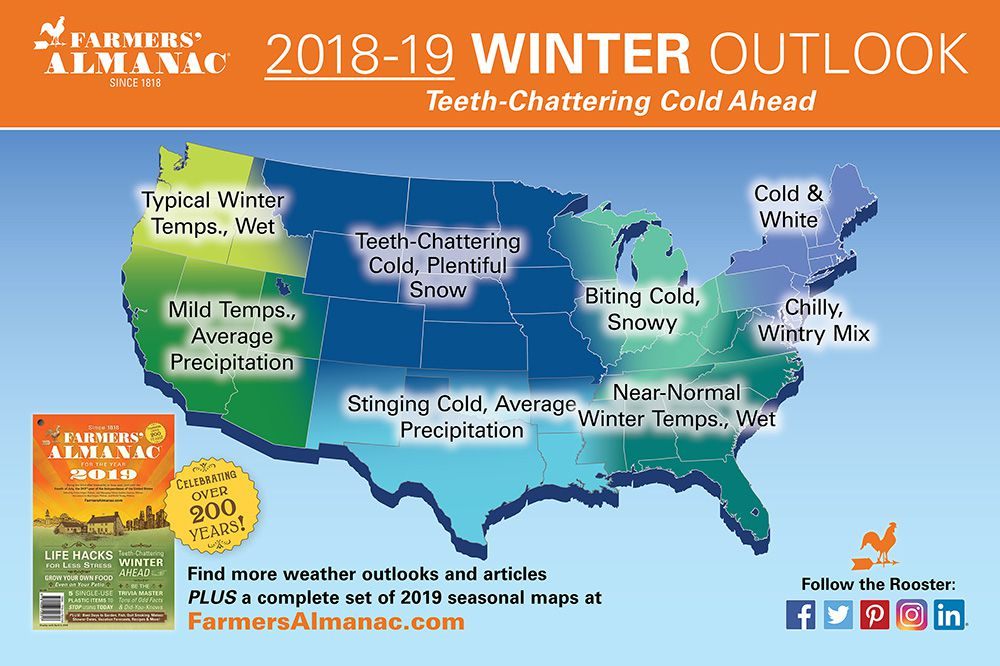 The Farmers' Almanac has described the 2018-2019 winter as: 'Shake, Shiver, & Chatter.'
