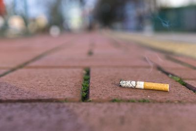 A cigarette butt on a brick ground.