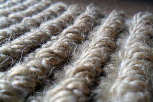 Close-Up Of Jute Carpet At Home