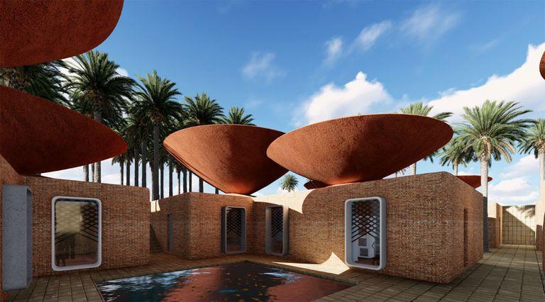 Diseño inteligente de techo cóncavo que recolecta agua de lluvia en climas cálidos