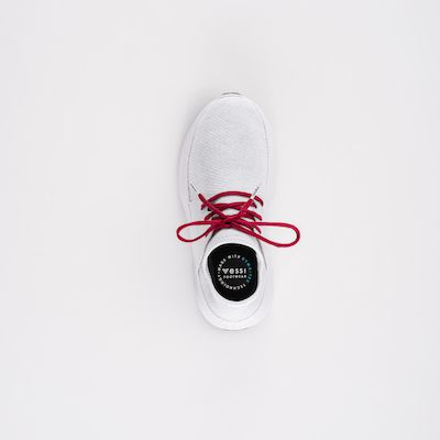 Vessi white shoes with red laces