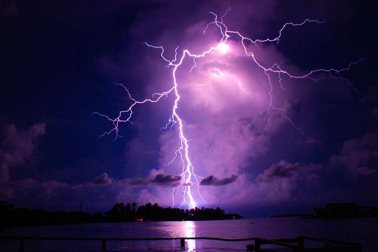 Lightning of the Catatumbo in Venezuela in a dark purple sky