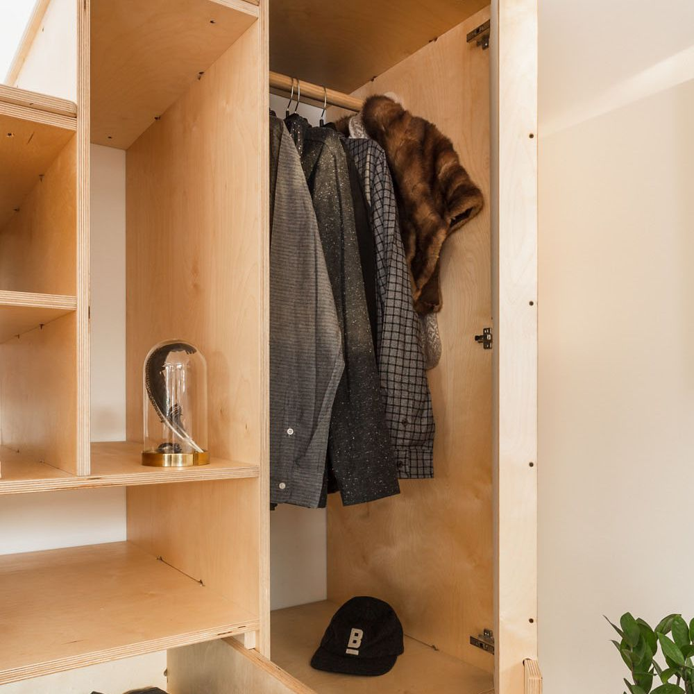 Close up of wardrobe in storage stairs