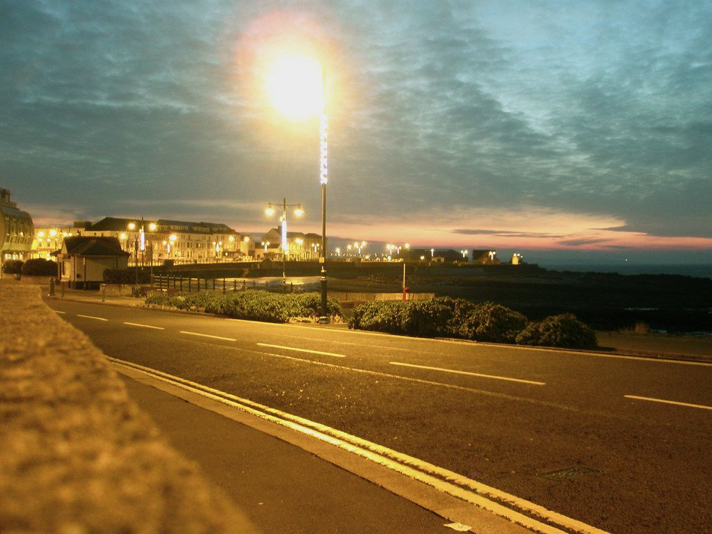 Street lights and light pollution at the seafront